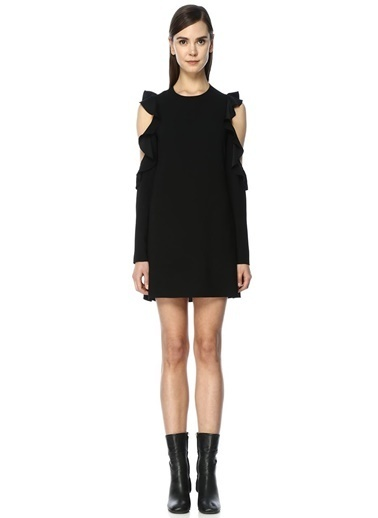 Omuzları Açık Volanlı Mini Elbise-Academia